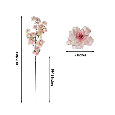"4 Bushes | 40"" Tall Silk Artificial Flowers Faux Cherry Blossoms Branches - Blush 