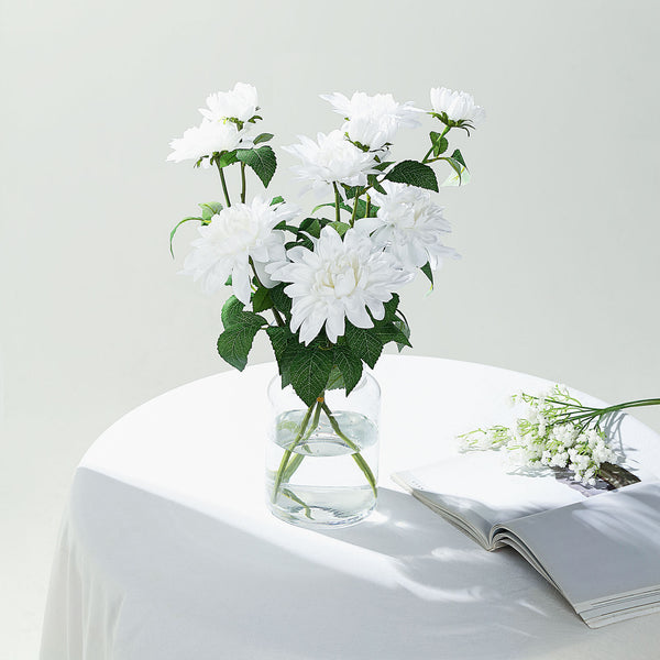 "Pack of 2 | 30"" White Dahlia Flower Stem, Silk Flower Spray"