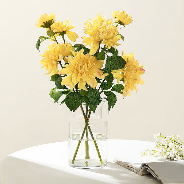 "Pack of 2 | 30"" Yellow Dahlia Flower Stem, Silk Flower Spray"