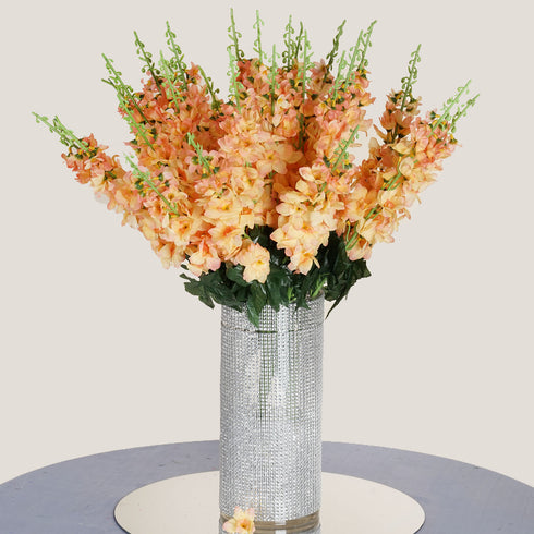 3 Bush 24'' Peach Artificial Delphinium Flowers