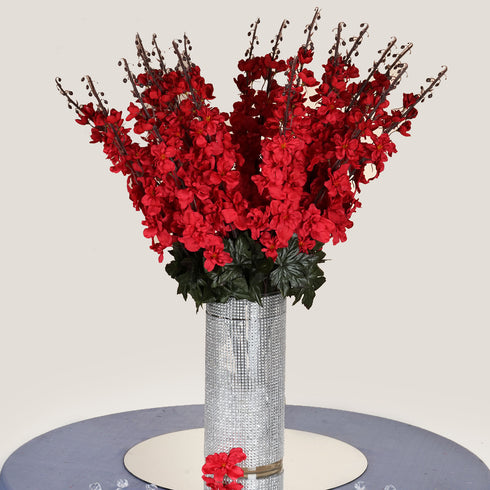 3 Bush 24'' Red Artificial Delphinium Flowers