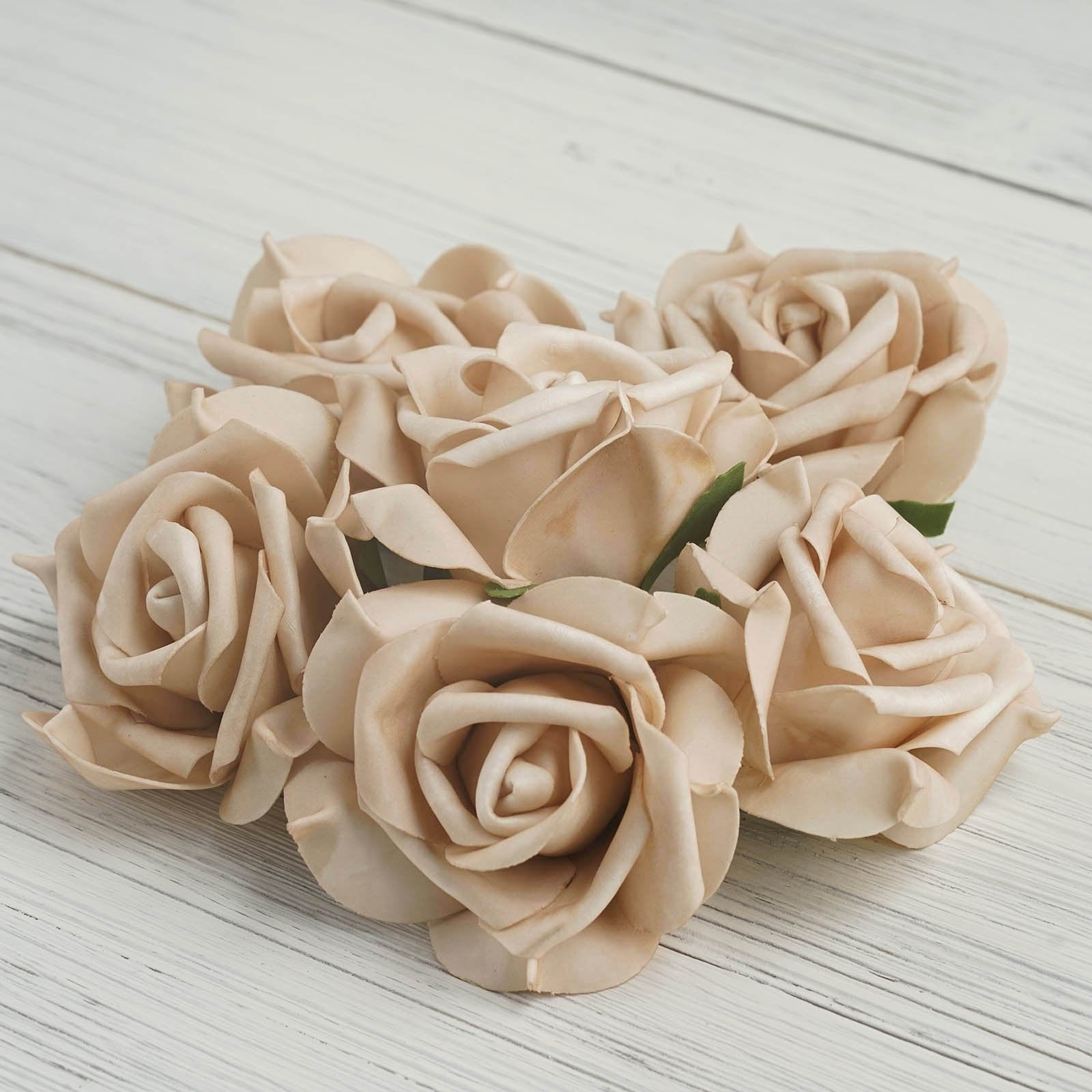 6 Pcs 4 Champagne Real Touch 3d Artificial Diy Foam Rose