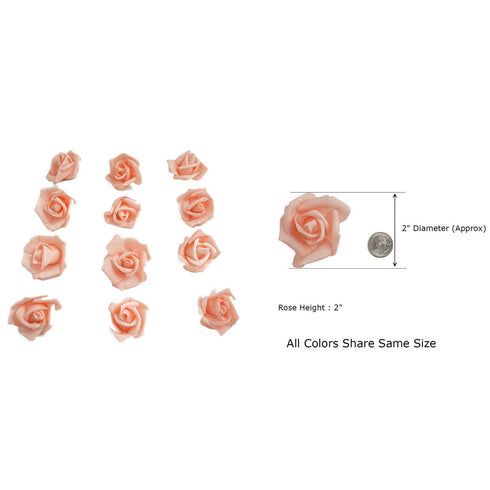 "12 pcs 2"" Cream Real Touch 3D Artificial DIY Foam Rose Flower Head"