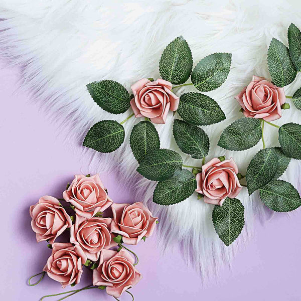 "24 Roses | 2"" Dusty Rose Artificial Foam Rose With Stem And Leaves - 16 Colors"