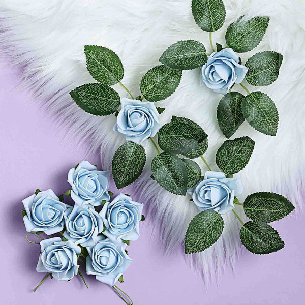 "24 Roses | 2"" Dusty Blue Artificial Foam Rose With Stem And Leaves - 16 Colors"
