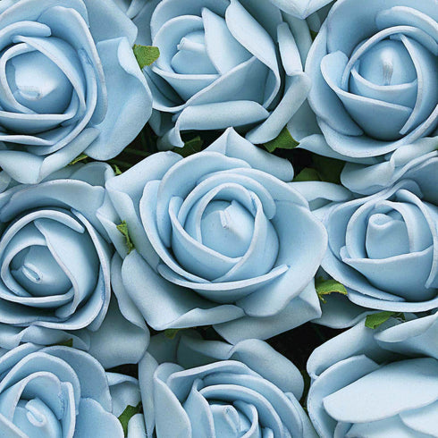 24 Roses | 2inch Dusty Blue Artificial Foam Rose With Stem And Leaves - 16 Colors