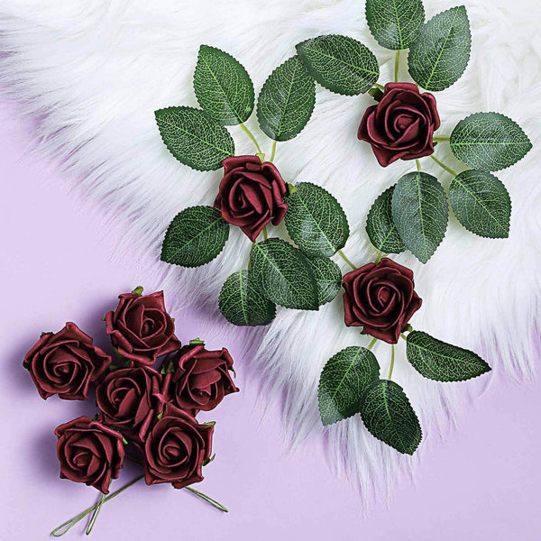 "24 Roses | 2"" Burgundy Artificial Foam Rose With Stem And Leaves - 16 Colors"