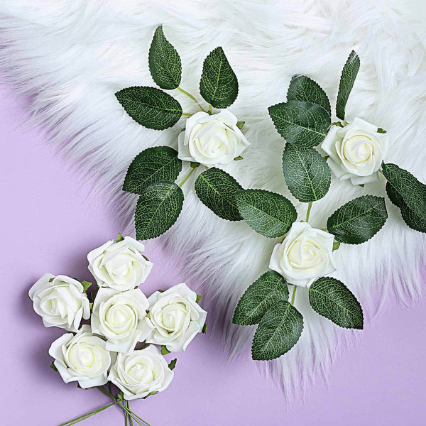 "24 Roses | 2"" Ivory Artificial Foam Rose With Stem And Leaves - 16 Colors"