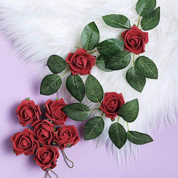 "24 Roses | 2"" Red Artificial Foam Rose With Stem And Leaves - 16 Colors"