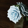 24 Roses 5inch Dusty Blue Artificial Foam Rose With Stems And Leaves 16 Colors