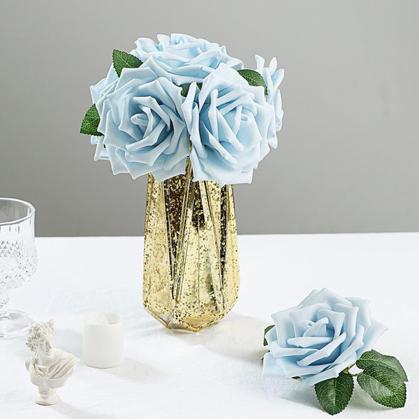"24 Roses | 5"" Dusty Blue Artificial Foam Rose With Stems And Leaves - 16 Colors"