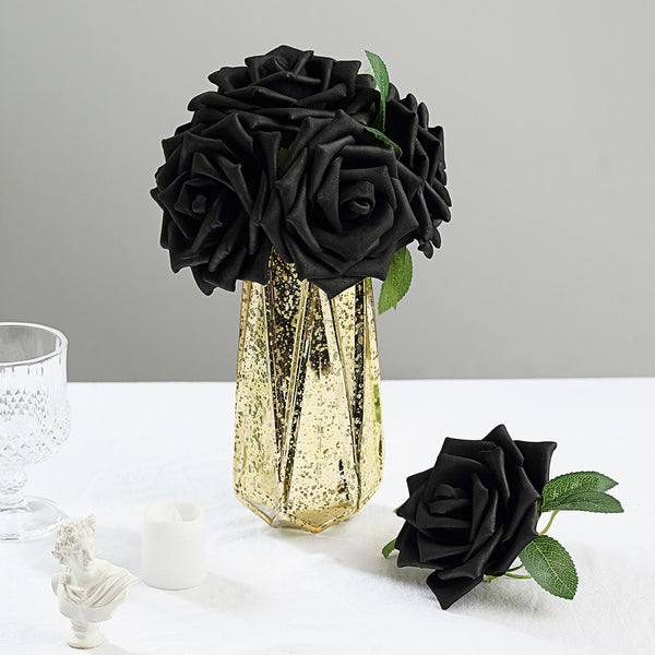 "24 Roses | 5"" Black Artificial Foam Rose With Stems And Leaves - 16 Colors"