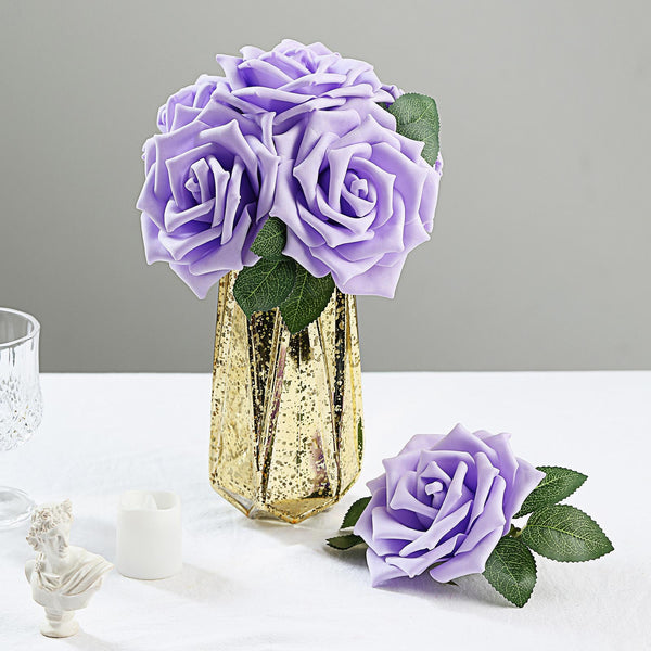 "24 Roses | 5"" Lavender Artificial Foam Rose With Stems And Leaves - 16 Colors"
