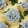 24 Roses 5inch Silver Artificial Foam Rose With Stems And Leaves 16 Colors