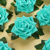 24 Roses 5inch Turquoise Artificial Foam Rose With Stems And Leaves 16 Colors