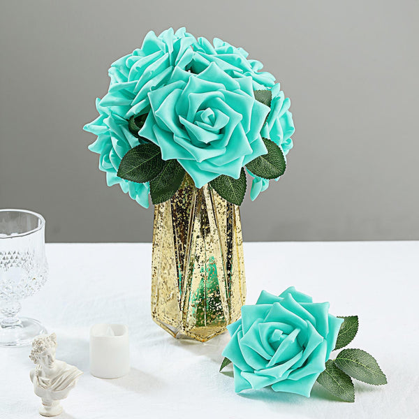 "24 Roses | 5"" Turquoise Artificial Foam Rose With Stems And Leaves - 16 Colors"