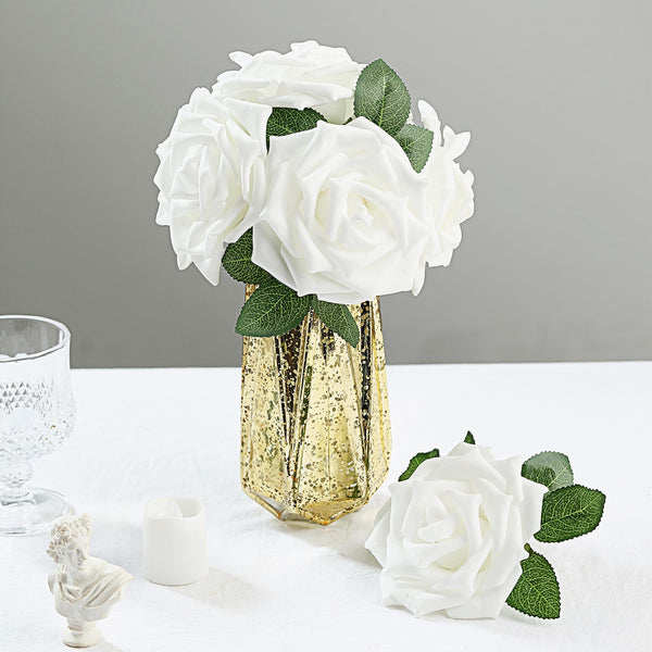"24 Roses | 5"" White Artificial Foam Rose With Stems And Leaves - 16 Colors"