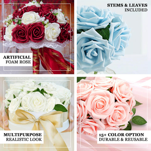 "24 Roses | 2"" White Artificial Foam Rose With Stem And Leaves - 16 Colors"