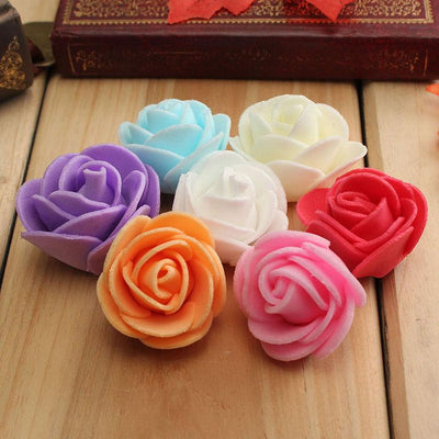 "12 pcs 2"" Champagne Real Touch 3D Artificial DIY Foam Rose Flower Head"