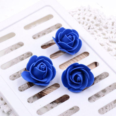 "6 pcs 4"" Champagne Real Touch 3D Artificial DIY Foam Rose Flower Head"