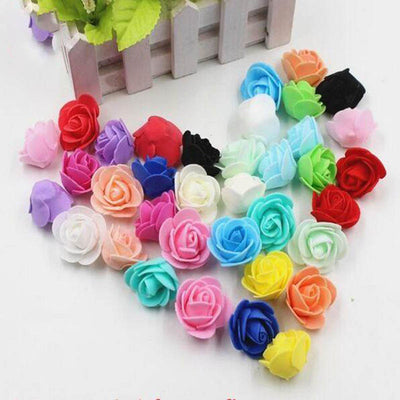 "12 pcs 2"" White Real Touch 3D Artificial DIY Foam Rose Flower Head"