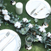 5 FT Green Artificial Eucalyptus Leaves Garland with White Natural Cotton Bolls