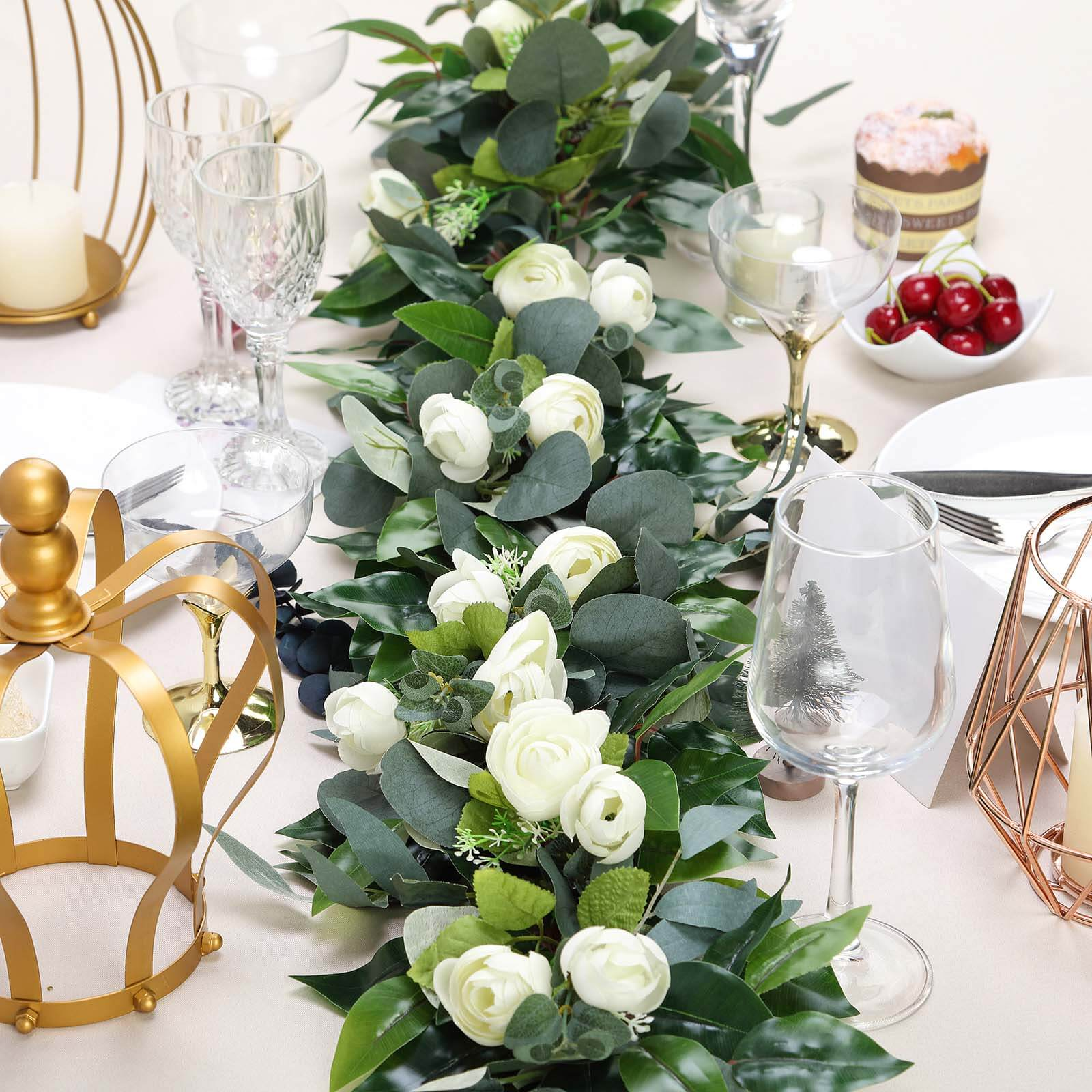 4 Ft Real Touch Green Eucalyptus Willow Leaves Garland With Ranunculus Flowers Efavormart