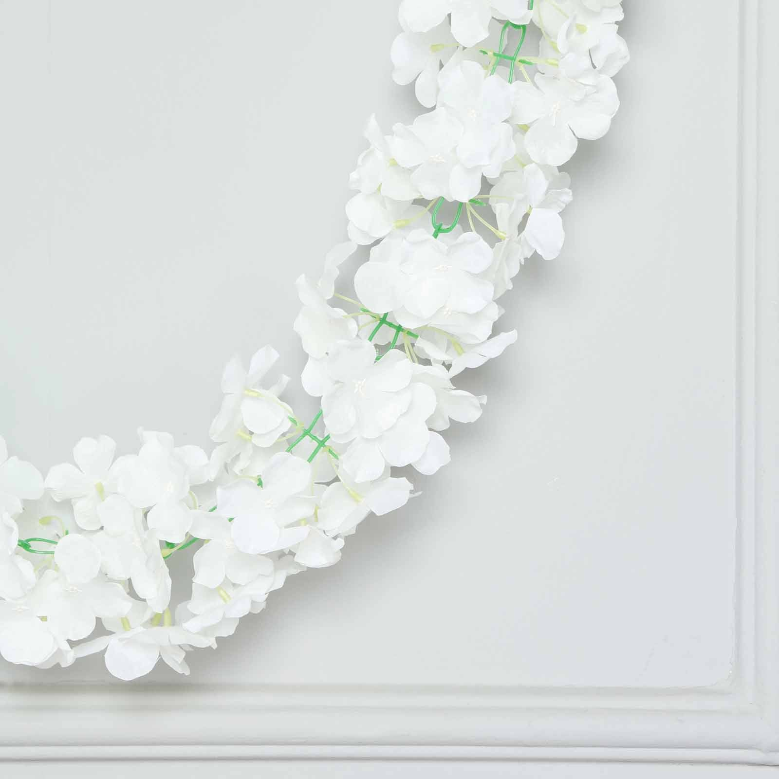 7 Ft 300 Pcs Cream Silk Hydrangea Artificial Flower Garland