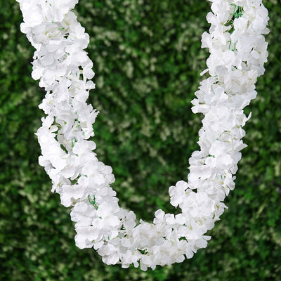 7 FT White Silk Hydrangea Artificial Flower Garland