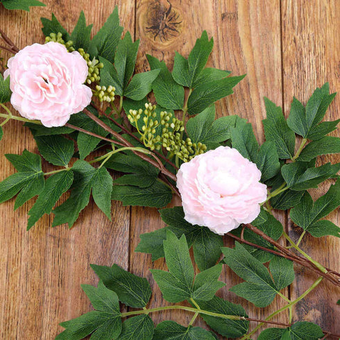 6 ft | Blush | 7 Flowers | Silk Peony Garland | Bendable Wire Vines | Artificial Flower Garlands with Seeds and Leaves