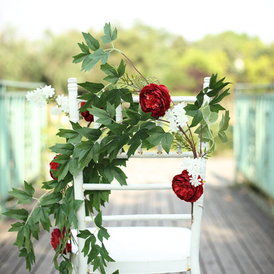 6 ft | Wine | 7 Flowers | Silk Peony Garland | Bendable Wire Vines | Artificial Flower Garlands with Seeds and Leaves