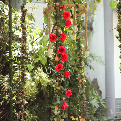 6 ft | Red | 13 Flowers | Silk Rose Garland | Bendable Wire Vines | Artificial Flower Garlands with Leaves