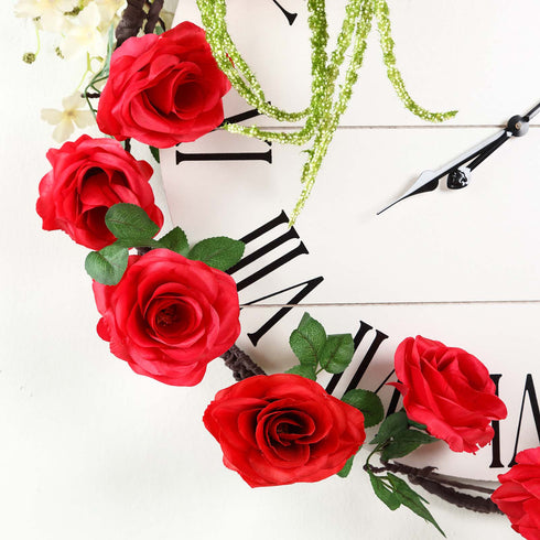 6 ft | Red | Silk Rose Garland | Bendable Wire Vines | Artificial Flower Garlands with Leaves