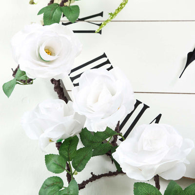 6 ft | White | Silk Rose Garland | Bendable Wire Vines | Artificial Flower Garlands with Leaves