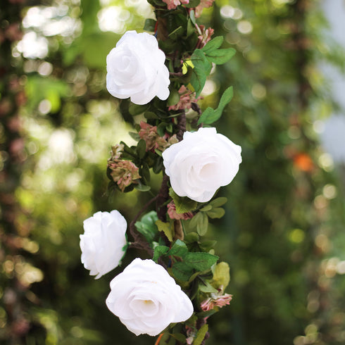 6 ft | White | 13 Flowers | Silk Rose Garland | Bendable Wire Vines | Artificial Flower Garlands with Leaves
