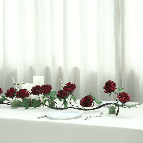 6 ft | Wine | 13 Flowers | UV Protected Silk Rose Garland | Bendable Wire Vines | Artificial Flower Garlands with Leaves