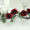 6 ft | Burgundy | 13 Flowers | UV Protected Silk Rose Garland | Bendable Wire Vines | Artificial Flower Garlands with Leaves