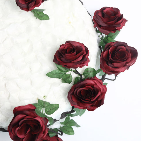 6 FT Wine UV Protected Silk Rose Garland - Artificial Wedding Garland - 14 Flowers