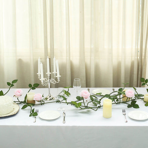 6 ft Long Blush Real Touch Rose Garland With 5 Big Roses, Wedding Garland Centerpiece
