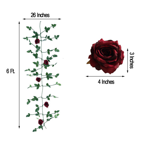 6 ft Long Burgundy Real Touch Rose Garland With 5 Big Roses, Wedding Garland Centerpiece