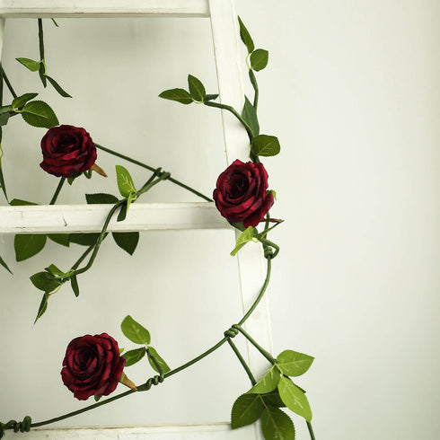 6 ft | Burgundy | 5 Flowers | Silk Rose Garland | Bendable Wire Vines | Artificial Flower Garlands with Leaves