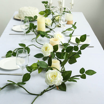 6 ft | Cream | 5 Flowers | Silk Rose Garland | Bendable Wire Vines | Artificial Flower Garlands with Leaves