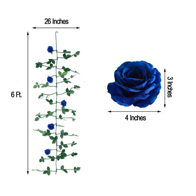 6 ft | Royal Blue | 5 Flowers | Silk Rose Garland | Bendable Wire Vines | Artificial Flower Garlands with Leaves