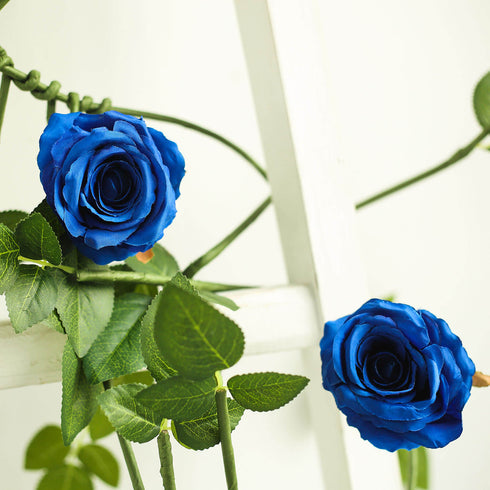 6 ft Long Royal Blue Real Touch Rose Garland With 5 Big Roses, Wedding Garland Centerpiece