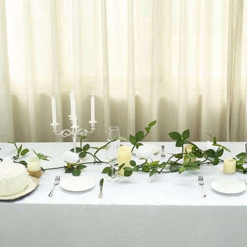 6 ft | White | 5 Flowers | Silk Rose Garland | Bendable Wire Vines | Artificial Flower Garlands with Leaves