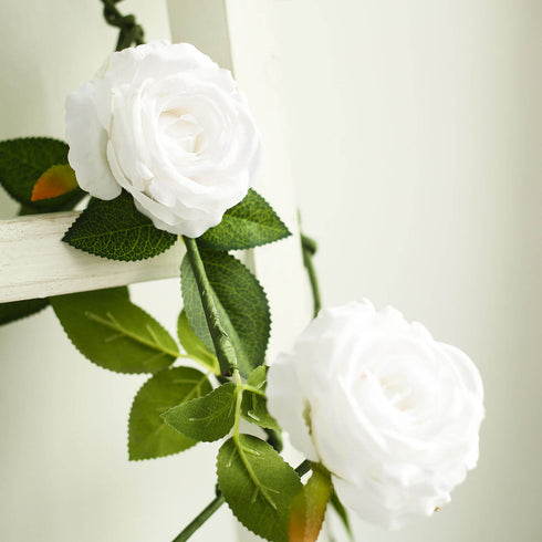 6 ft Long White Real Touch Rose Garland With 5 Big Roses, Wedding Garland Centerpiece