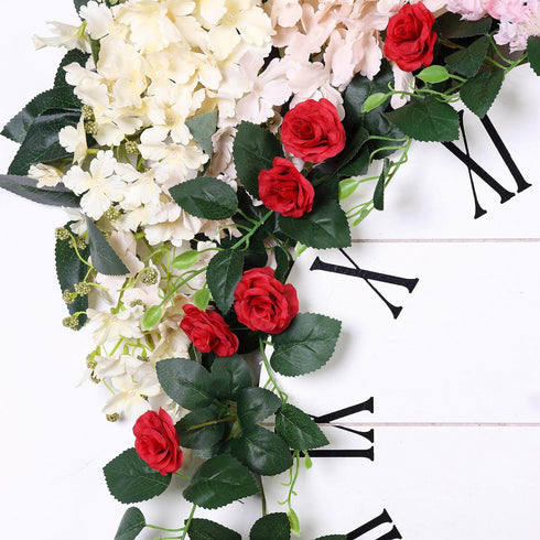 6 ft | Red | 20 Flowers | UV Protected Silk Rose Garland | Bendable Wire Vines | Artificial Flower Garlands with Leaves