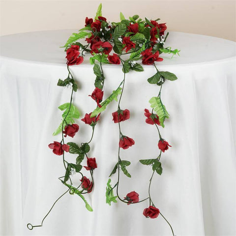 Rose Garland-Burgundy-8pk