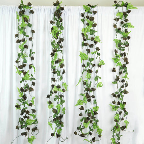 8 Pack 48 Ft Chocolate UV Protected Rose Chain Artificial Flower Garland