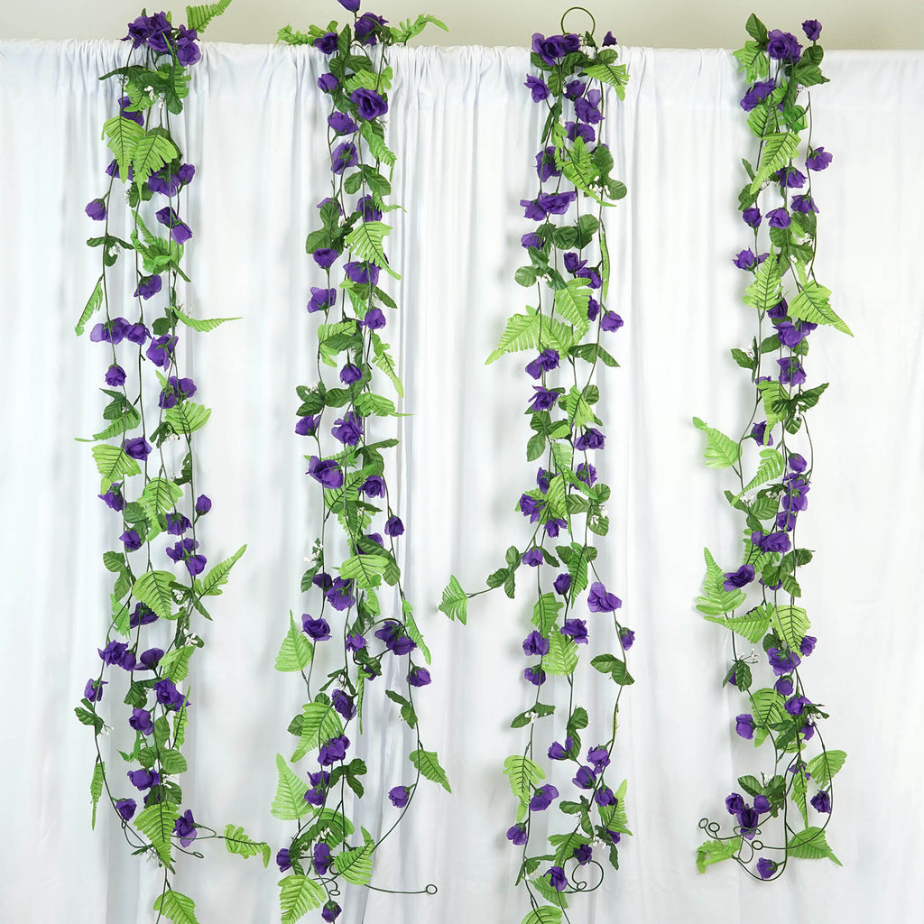 Rose Garland-Purple-8pk